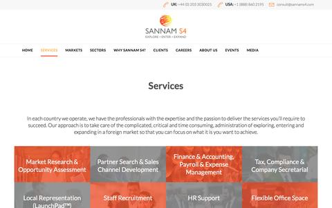 Screenshot of Services Page sannams4.com - Market entry support services - Sannam S4 - captured July 22, 2016