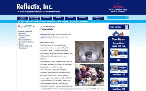 Screenshot of Testimonials Page reflectixinc.com - All About Reflectix® | Testimonials - captured Aug. 19, 2016