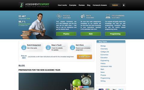 Screenshot of Blog assignmentexpert.com - Homework Help Blog - captured Oct. 31, 2017
