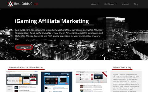 Screenshot of Home Page bestoddscorp.com - iGaming Media Company & Affiliate Portal Network • Best Odds Corp - captured Sept. 30, 2014