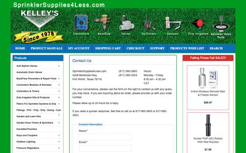 Screenshot of Support Page sprinklersupplies4less.com - Contact Us - captured Sept. 27, 2018
