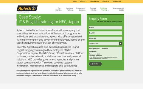 Screenshot of Case Studies Page aptechglobaltraining.com - Customized IT & English training for international managers in India - captured Oct. 11, 2018