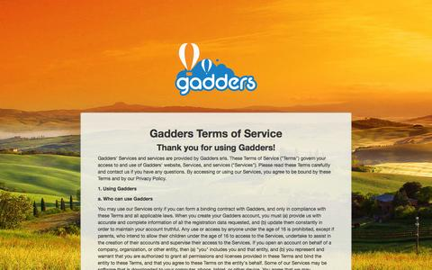 Screenshot of Terms Page gadders.eu - Gadders - Terms Site - captured July 18, 2015