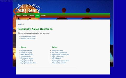 Screenshot of FAQ Page abqrealty.net - FAQ - Albuquerque Real Estate & Homes For Sale - ABQ Realty - captured May 28, 2017