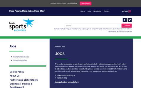 Screenshot of Jobs Page sportinherts.org.uk - Jobs - Herts Sports Partnership - captured Sept. 28, 2018