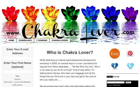 Screenshot of About Page chakra-lover.com - Who Is Chakra Lover? - captured Sept. 21, 2016