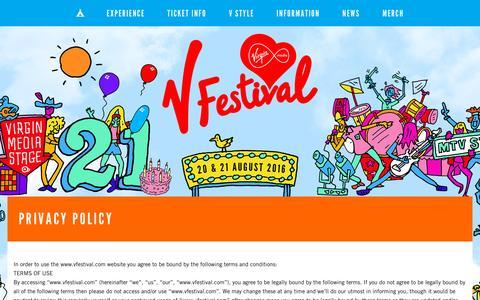 Screenshot of Privacy Page vfestival.com - Privacy Policy - captured Nov. 23, 2015