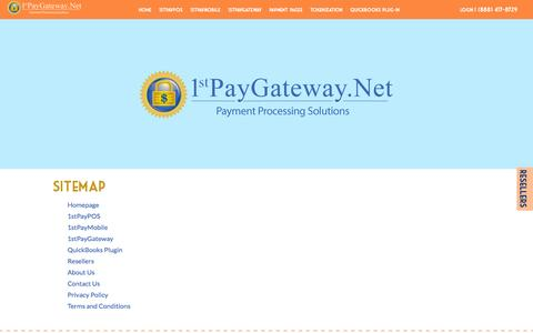 Screenshot of Site Map Page 1stpaygateway.net - Payment Gateway and PCI Compliant Payment Processing - Sitemap - captured Oct. 27, 2014