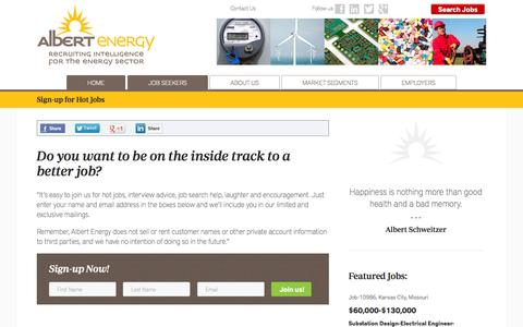 Screenshot of Signup Page albertenergy.com - Get on the inside track to a better job! | Hot Jobs Newsletter - captured Oct. 29, 2014