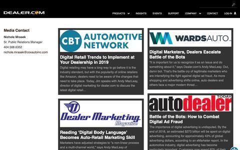 Screenshot of Press Page dealer.com - Company News Archive - Dealer.com - captured Feb. 12, 2019