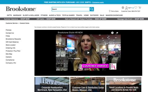 Screenshot of Jobs Page brookstone.com - Careers: Corporate, Distribution & Retail | Brookstone - captured July 13, 2018