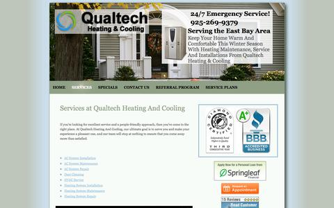 Screenshot of Services Page qualtechhvac.com - Danville, CA Services |  Qualtech Heating And Cooling - captured Oct. 22, 2014