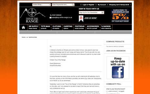 Screenshot of Testimonials Page top-of-the-range.co.uk - Testimonials - captured Oct. 7, 2014