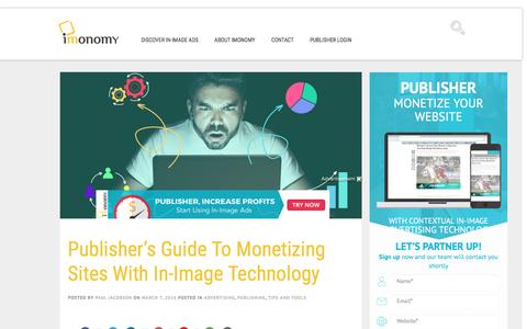 Screenshot of Blog imonomy.com - Publisher's Guide To Monetizing Sites With In-Image Technology - imonomy blog - captured July 4, 2016