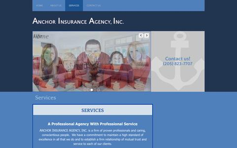 Screenshot of Services Page anchoragent.com - Services | Anchor Insurance Agency - Birmingham, Alabama - captured Feb. 6, 2016