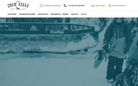 Screenshot of Home Page snowrehab.com - Ski & Snowboard Instructor Courses & Backcountry Holidays in Canada - captured March 24, 2016