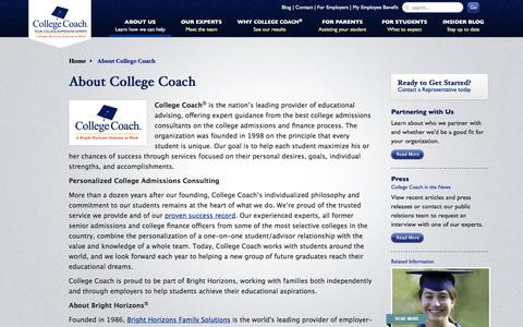 Screenshot of About Page getintocollege.com - College Admissions Consulting | College Coach - captured Sept. 21, 2016