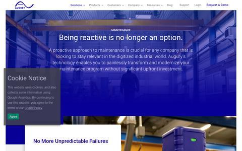 Screenshot of Team Page augury.com - Solutions - Maintenance - Augury Augury - captured Dec. 18, 2018