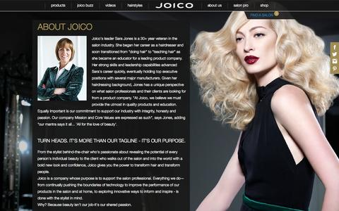 Screenshot of About Page joico.com - About | Joico Haircare - captured Sept. 22, 2014