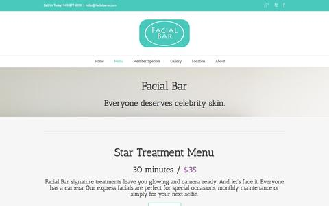 Screenshot of Menu Page facialbaroc.com - Facial Treatment Menu - Walk In / Book Now - captured Sept. 30, 2014