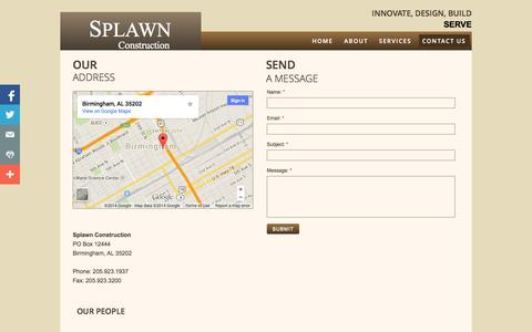Screenshot of Privacy Page Contact Page splawnconstructioninc.com - Contact Us - captured Oct. 26, 2014