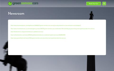 Screenshot of Press Page greentomatocars.com - Newsroom / Green Tomato Cars - captured Sept. 7, 2016