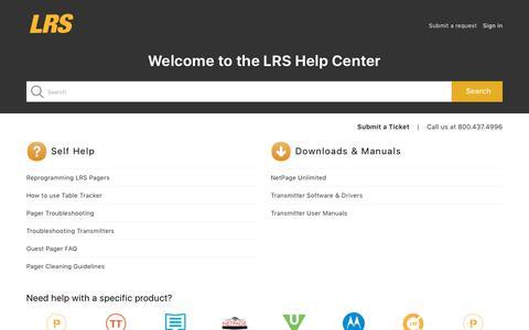 Screenshot of Support Page lrsus.com - Long Range Systems, LLC - captured Sept. 23, 2018