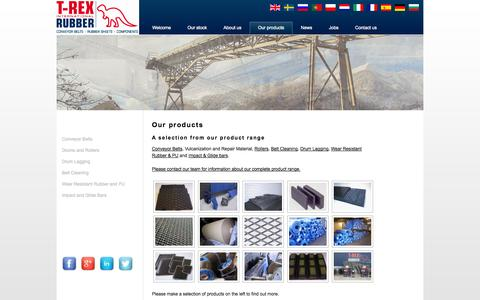 Screenshot of Products Page trexrubber.com - Our products | T-Rex Rubber International - captured Oct. 27, 2014