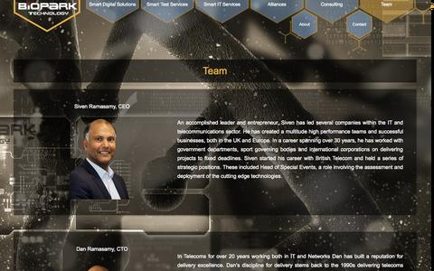 Screenshot of Team Page bioparktech.com - Team - captured Oct. 5, 2014