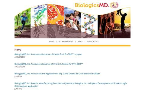 Screenshot of Press Page biologicsmd.com - BiologicsMD News - captured Oct. 5, 2014
