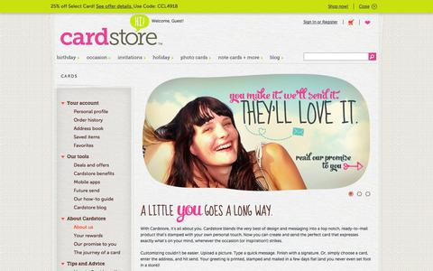 Screenshot of About Page cardstore.com - All About You | Cardstore - captured Sept. 22, 2014