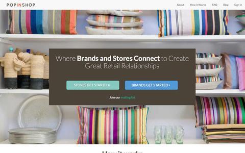 Screenshot of Home Page popinshop.me - PopInShop - captured Jan. 20, 2015