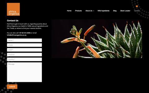 Screenshot of Contact Page africaorganics.co.za - Contact Us - captured July 24, 2016