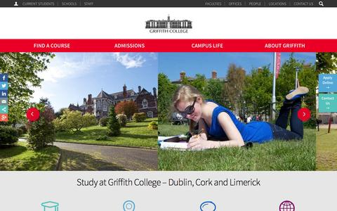 Screenshot of Home Page griffith.ie - Griffith College in Ireland with Colleges in Dublin, Cork & Limerick - captured Jan. 23, 2015