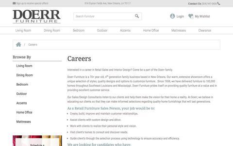 Screenshot of Jobs Page doerrfurniture.com - Careers - Doerr Furniture Doerr Furniture Store - captured June 4, 2017