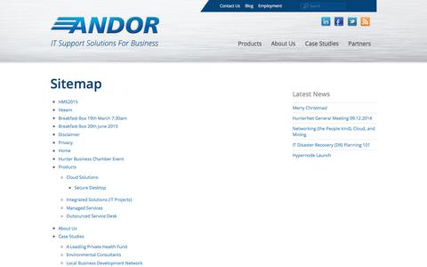 Screenshot of Site Map Page andor.com.au - Sitemap | Andor Information Technology - captured Oct. 8, 2017