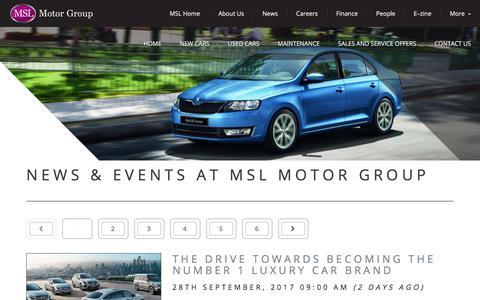 Screenshot of Press Page msl.ie - News  — MSL Motor Group - captured Sept. 30, 2017