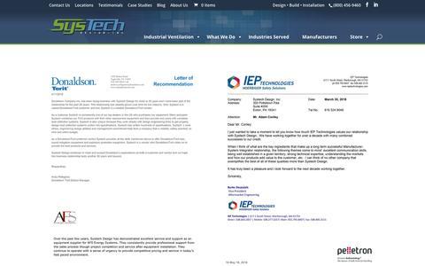 Screenshot of Testimonials Page systech-design.com - SysTech Design Inc. Reviews & Testimonials - captured Oct. 19, 2018