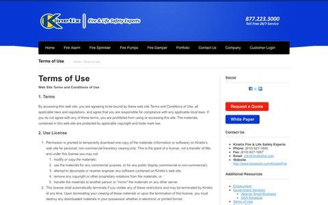 Screenshot of Terms Page kinetixfire.com - Terms of Use | Kinetix FireKinetix Fire - captured Oct. 6, 2014