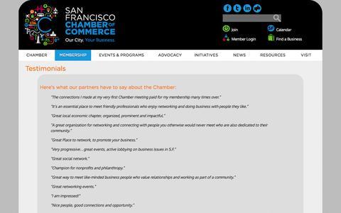 Screenshot of Testimonials Page sfchamber.com - Member Testimonials | San Francisco Chamber of Commerce - captured Oct. 3, 2014