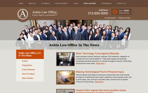 Screenshot of Press Page ankinlaw.com - Illinois Legal News | Ankin Law Office Chicago - captured Jan. 24, 2016