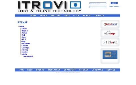 Screenshot of Site Map Page itrovi.com - Sitemap - captured Oct. 7, 2014