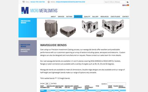 Screenshot of Products Page micrometalsmiths.com - Waveguide Bends | Micro Metals - captured Oct. 27, 2014