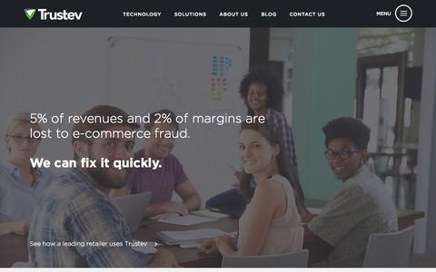 Screenshot of Home Page trustev.com - Trustev | Increase e-commerce revenues, stop fraud - captured Nov. 5, 2015