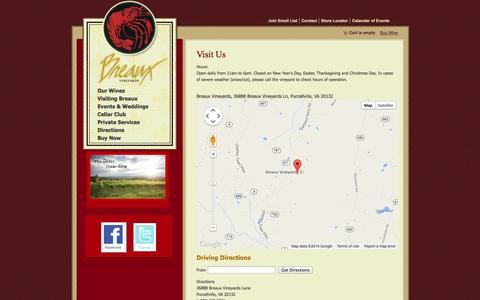 Screenshot of Maps & Directions Page breauxvineyards.com - Visit Breaux Vineyards - captured Oct. 5, 2014