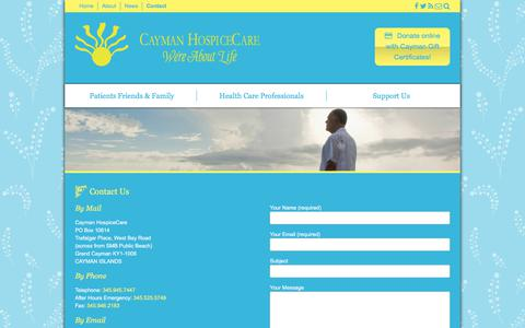 Screenshot of Contact Page caymanhospicecare.ky - Contact - Cayman HospiceCare - We're About Life - captured Feb. 4, 2018