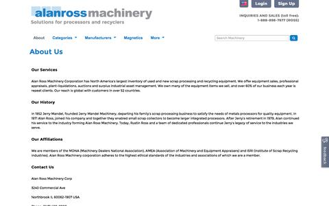 Screenshot of About Page alanross.biz - About Us | Alan Ross Machinery - captured Nov. 2, 2014