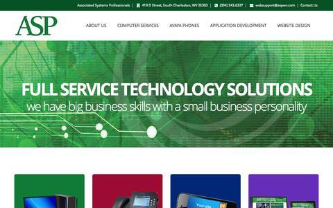 Screenshot of aspwv.com - Computer Services Website Design Website Development AVAYA Phones Charleston WV | Associated Systems Professionals (ASP) - captured Sept. 11, 2015