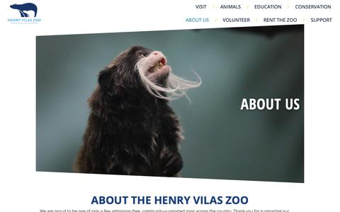 Screenshot of About Page vilaszoo.org - About Us - Henry Vilas Zoo - captured Nov. 10, 2018