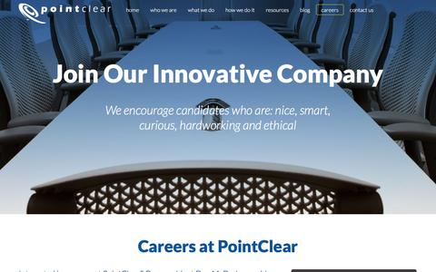 Screenshot of Jobs Page pointclear.com - Careers in Lead Generation & Sales | PointClear, LLC - captured Dec. 10, 2015